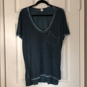 Free people rising sun tee in blue color
